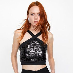 ZARA Black Contrast Sequin Halter Crop Top, NWT, S